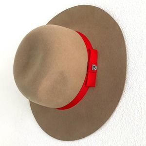 Brixton Tan Wool Brimmed Hat Red Ribbon Trim